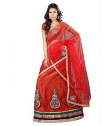 Buy Red embroidered Net unstitched lehenga-choli lehenga-choli online