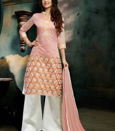 Buy Peach and Pink  embroidered Chanderi unstitched salwar with dupatta dress-material online