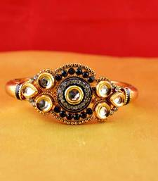 Buy gold moti stone cz polki kundun meenakari pearl bangle kara with stretchable Bracelet online