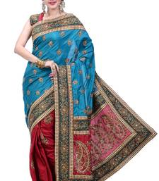 Buy Blue  and  Maroon embroidered silk saree with blouse party-wear-saree online