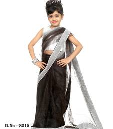 Buy black plain net saree with blouse kids-saree online