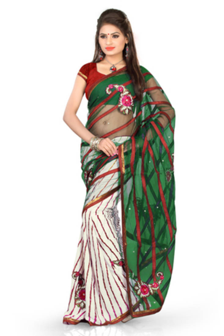 Buy Green And White Embroidered Net Saree With Blouse Online