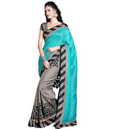 Buy Grey and Green printed georgette saree with blouse printed-saree online