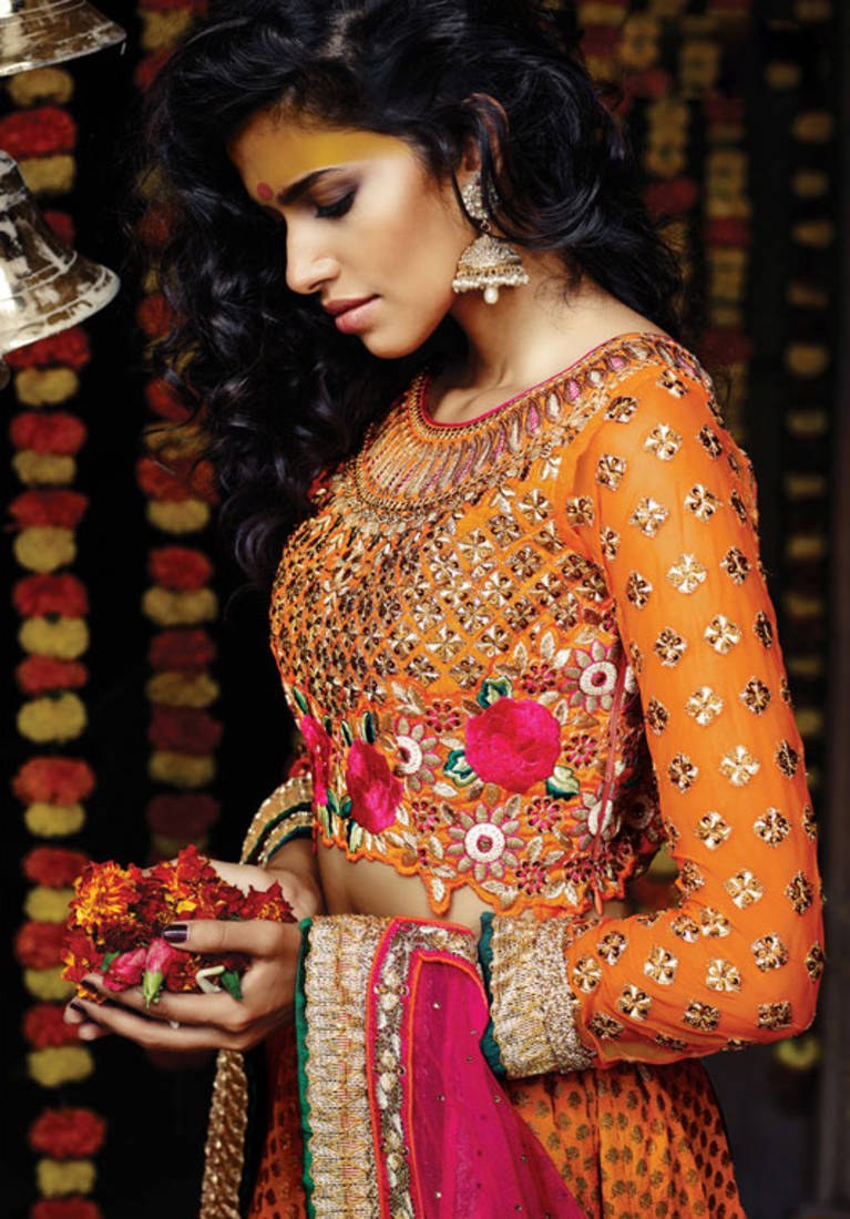 Buy Orange Embroidered Silk Unstitched Bridal Lehengas Online