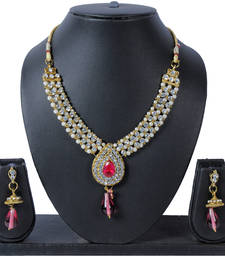 Buy Luxor Pink Topaz Necklace Set NK-1553 necklace-set online