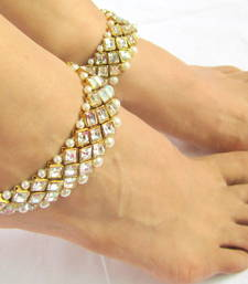 Buy GOLD TONE CRYSTAL PEARL BRIDAL  ANKLETS PAYAL PAIR anklet online