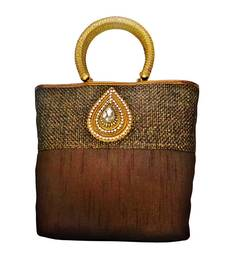 Buy Jute Raw Silk Combo Tilak Brooch handbag (Brown) handbag online
