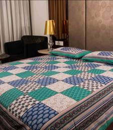 Buy Pure Cotton Multicolor Check Design Sanganeri Print Double Bedsheet bed-sheet online