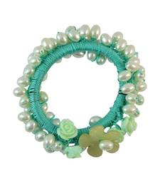 Buy Beads Green Fabric Hair Rubber Band for Women Other online