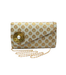 Buy Brocade Clutch With Stylish Flap (White) ramadan-gift online