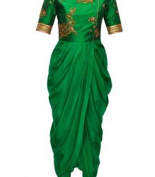 Buy Green embroidered raw silk and georgette party-wear-Kurtis party-wear-gown online