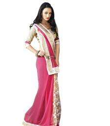Buy Pink brasso georgette saree with blouse brasso-saree online
