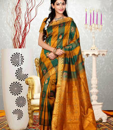 Buy Orange woven dupion silk saree with blouse dupion-saree online