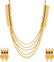 Buy Glorious Five Strings Temple Jewellery Gold Plated Necklace Set necklace-set online