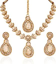 Buy Glimmery Gold plated Australian Diamond Stone  Necklace Set necklace-set online