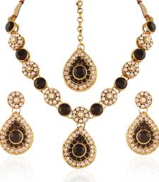 Buy Sleek Gold plated Australian Diamond Stone  Necklace Set necklace-set online