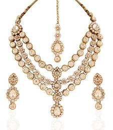 Buy Creative Gold plated Australian Diamond Stone  Necklace Set necklace-set online