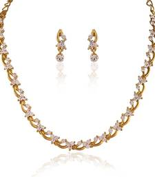 Buy Classy Gold plated Australian Diamond Stone  Necklace Set necklace-set online