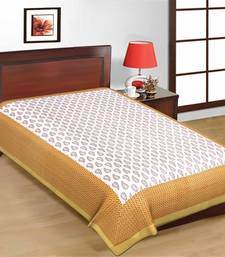 Buy Jaipuri Brown and White Color Designer Print Pure Cotton Single Bedsheet bed-sheet online