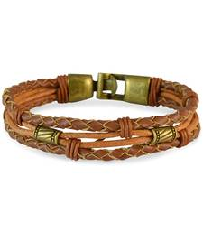Buy Men Multi-stranded Leather Bracelet Light Brown color for Everyday wear Bracelet online