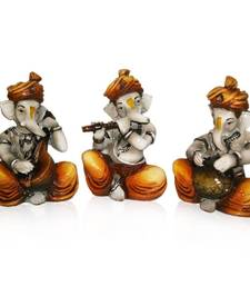 Buy Set of 3 Instrumental Ganesha sculpture online