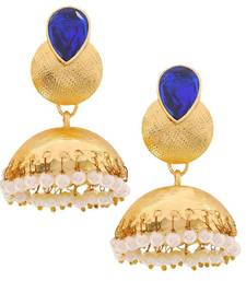 Buy Indian Wedding Jewelry Plush Ethnic Jhumki Earrings Blue Whit jhumka online