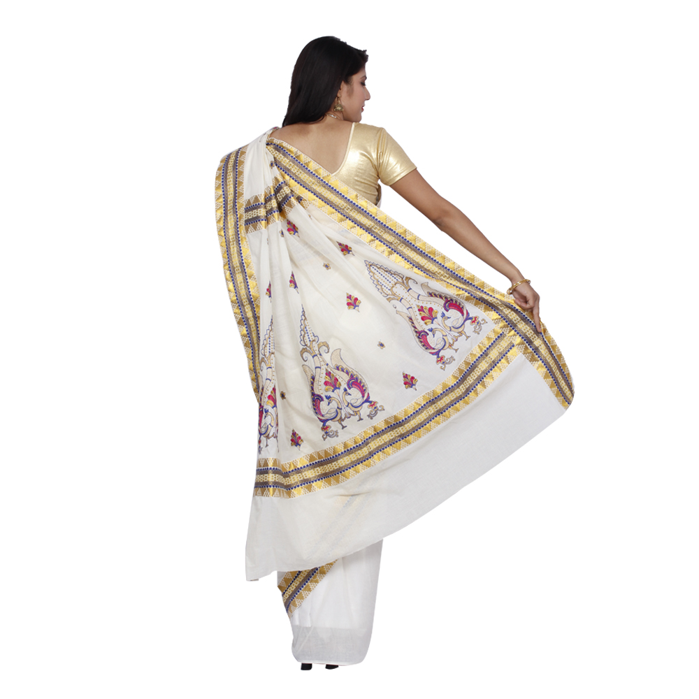 Buy Offwhite Embroidered Cotton Saree With Blouse Online