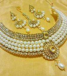 Buy Designer White Wedding Bridal Choker Necklace Set necklace-set online