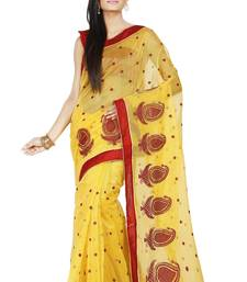 Buy Yellow embroidered Supernet saree with blouse supernet-saree online