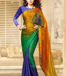 Buy Multicolour and Blue Plain Crepe saree with blouse crepe-saree online
