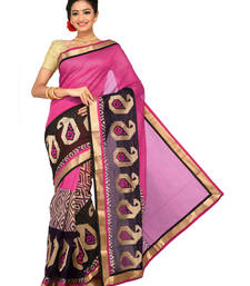 Buy Pink Embroidered Chanderi saree with blouse chanderi-saree online