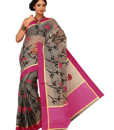 Buy Pink Embroidered supernet saree with blouse supernet-saree online