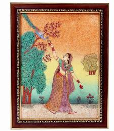 Buy Lady Feeding Peacock Ethnic Gemstone Painting painting online