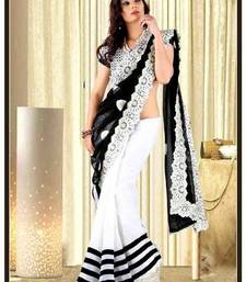 Buy black and white embroidered georgette saree with blouse other-actress-saree online