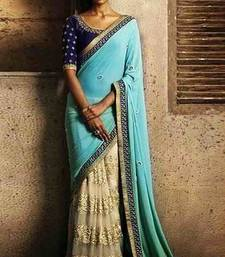 Buy firozi and chiku faux georgette georgette saree with blouse bridal-saree online