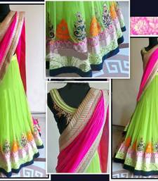 Buy Green and Pink Embroidered Silk and Georgette unstitched lehenga-choli lehenga-choli online