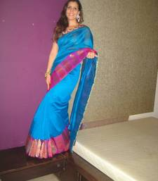 Buy Turquoise Blue Chanderi Sari chanderi-saree online