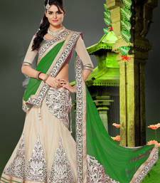 Green Embroidered Net unstitched lehenga-choli shop online