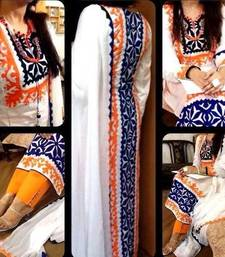 Buy white  cotton semi stitched salwar with dupatta cotton-salwar-kameez online