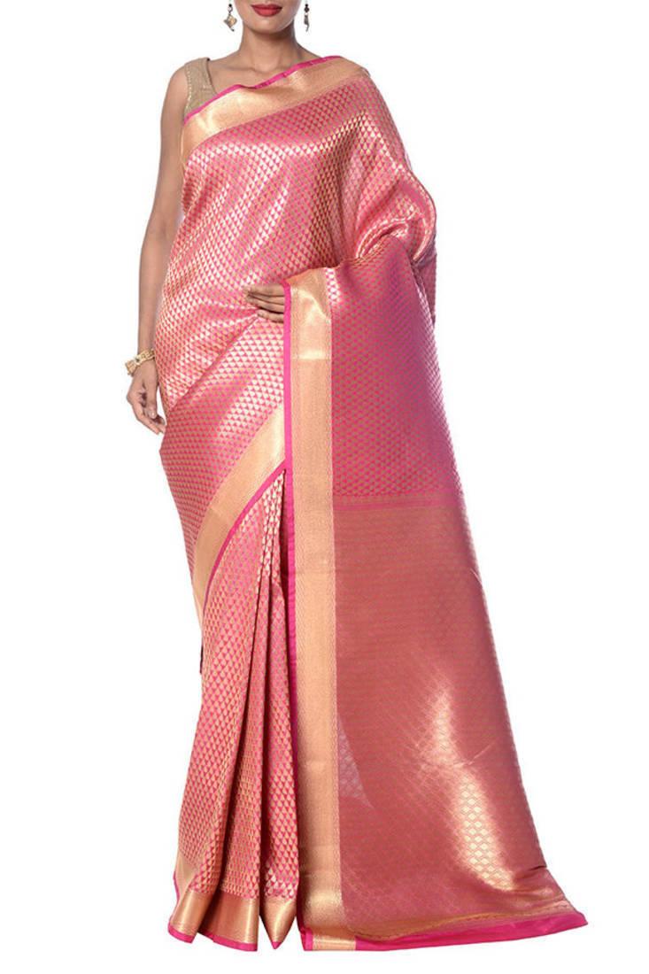 Buy Pink Hand Crafted Kanjivaram silk saree with blouse Online