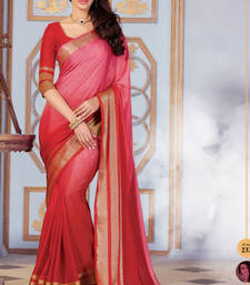 Buy Red and Pink Plain Silk saree with blouse wedding-saree online