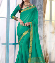 Buy green Plain Silk saree with blouse wedding-saree online