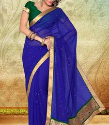 Buy Royal Blue Faux Georgette Saree With Blouse georgette-saree online