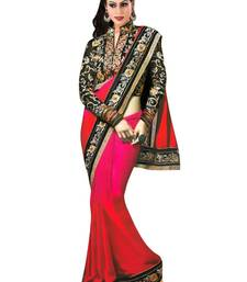 Buy red  and  pink hand_woven georgette saree with blouse chiffon-saree online