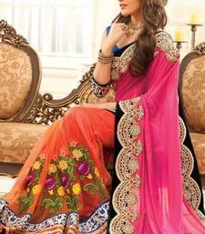 Buy pink and orange embroidered georgette saree with blouse karwa-chauth-saree online