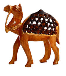Buy Carved Wooden Camel Showpiece housewarming-gift online