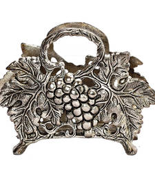 Buy Grape Vine Design Napkin Holder crafted in Oxidized Silver Metal home-decor online
