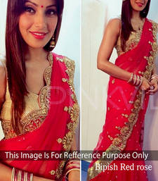 Buy Bipasha Basu Red embroidered Georgette saree with blouse other-actress-saree online