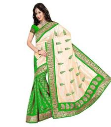 Buy Cream and Green embroidered art_silk saree with blouse art-silk-saree online