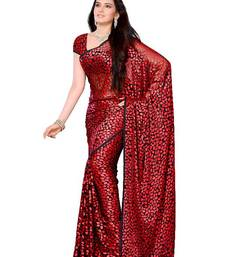 Buy Polka Dotted Style Stunning Party Wear Saree made from Brasso Fabric brasso-saree online